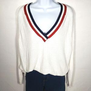 Garage White V Neck Lightweight Sweater Size Large